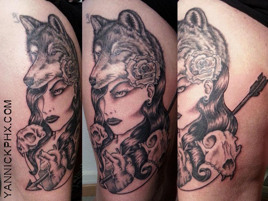 portrait femme loup crane chat coeur tattoo cuisse yannick phx